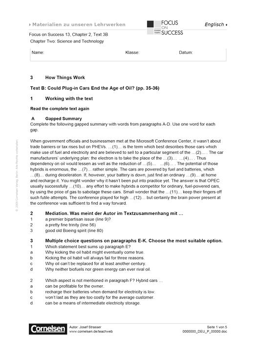Chapter 2, text 3B - Arbeitsblatt | Cornelsen