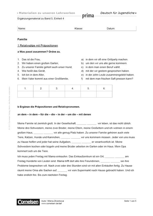 Prima B1, Band 5, Einheit 04: Familie - Arbeitsblatt | Cornelsen