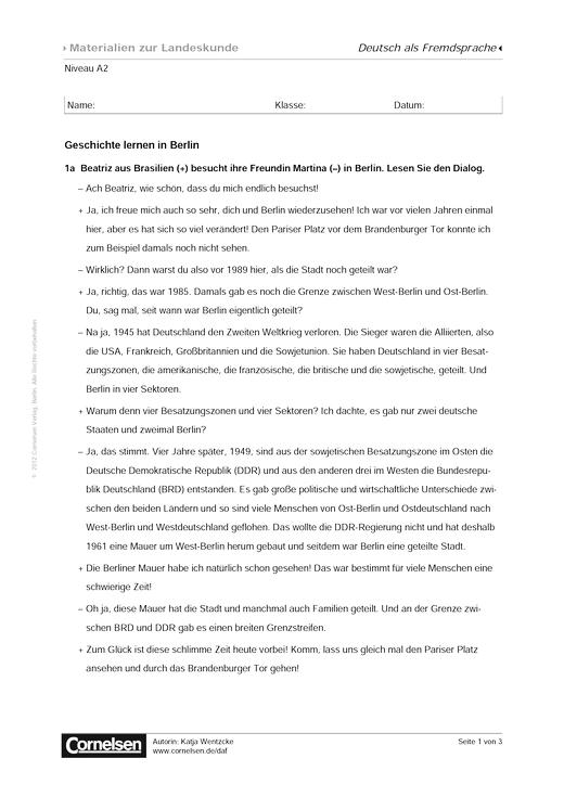 Geschichte lernen in Berlin (Niveau A2) - Arbeitsblatt | Cornelsen