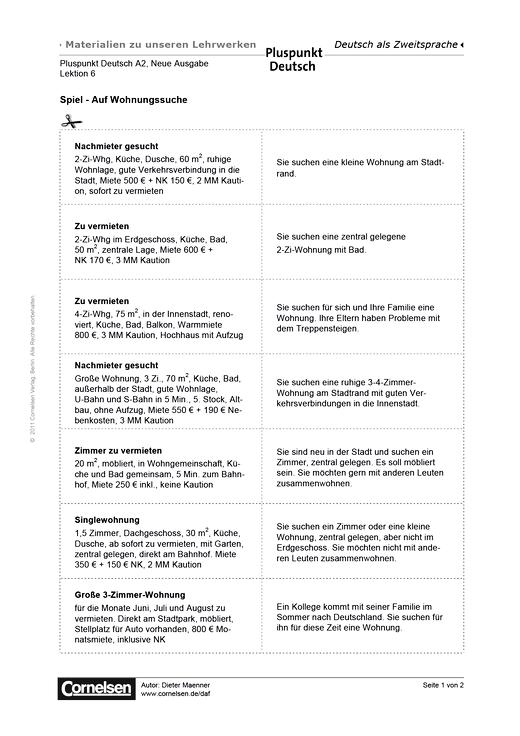 Pluspunkt Deutsch Neue Ausgabe, Band A2, Lektion 6: Wohnen nach ...