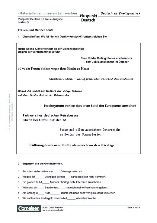 Pluspunkt Deutsch Neue Ausgabe, Band B1, Lektion 3: Frauen und ...