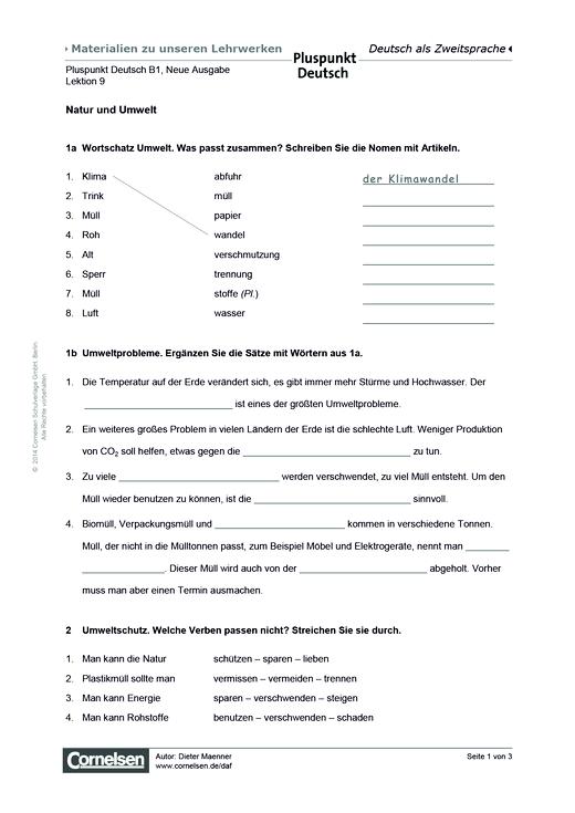 Pluspunkt Deutsch Neue Ausgabe, Band B1, Lektion 9: Natur und Umwelt ...