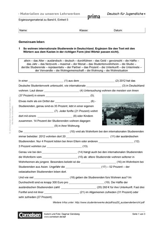Prima B2, Bd.6, Einheit 4: Gemeinsam leben - Arbeitsblatt | Cornelsen