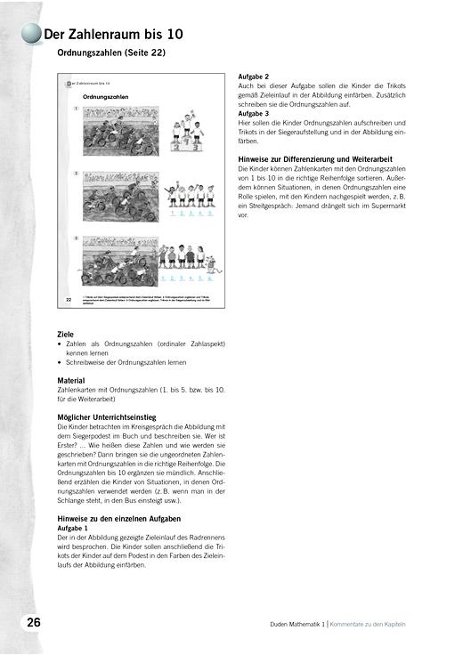 Kommentare zu Kapiteln, Mathematik 1, Ausgabe A, Grundschule, BB, BE ...