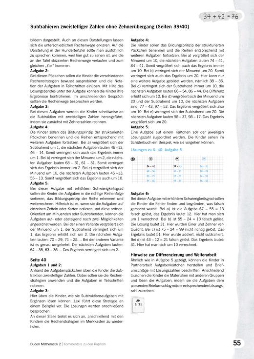 Kommentare zu Kapiteln, Mathematik 2, Ausgabe A, Grundschule, BB, BE ...