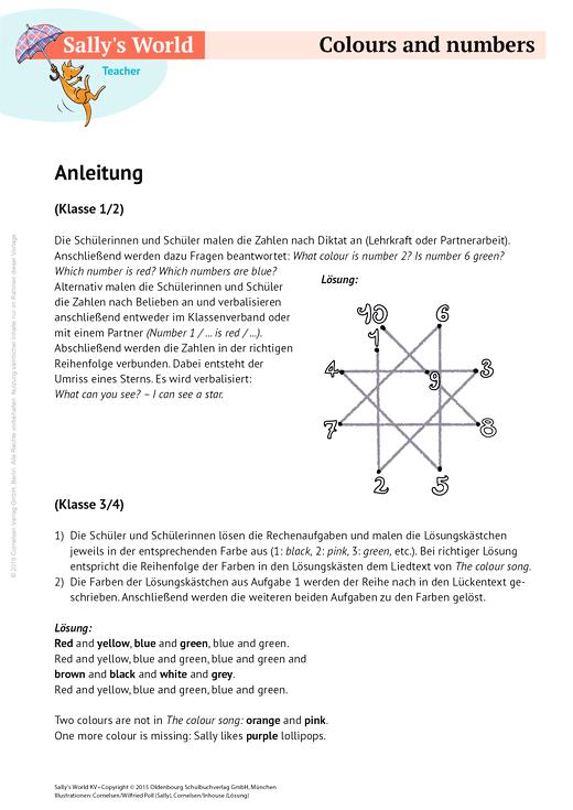 Colours and numbers - Arbeitsblatt | Cornelsen