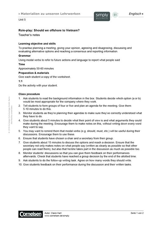 Simply Business B1+ Unit 5 – Role-play - Arbeitsblatt | Cornelsen