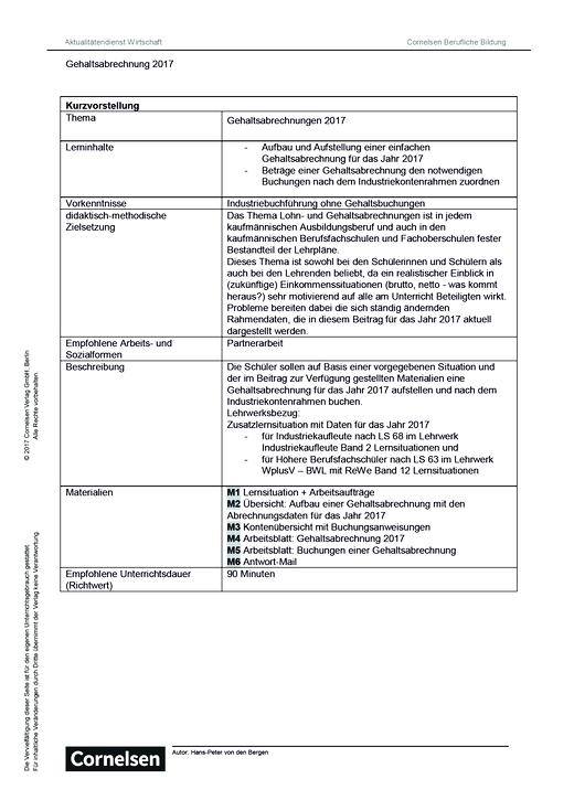 Lernsituation: Gehaltsabrechnung 2017 - Arbeitsblatt   Cornelsen