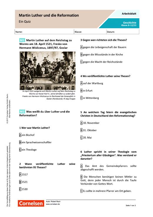 Quiz/Fragebogen - Martin Luther und die Reformation - Arbeitsblatt ...