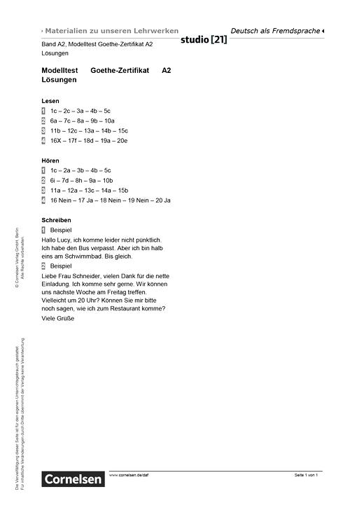 "Modelltest ""Goethe Zertifikat A2"" – Lösungen - Lösungen   Cornelsen"