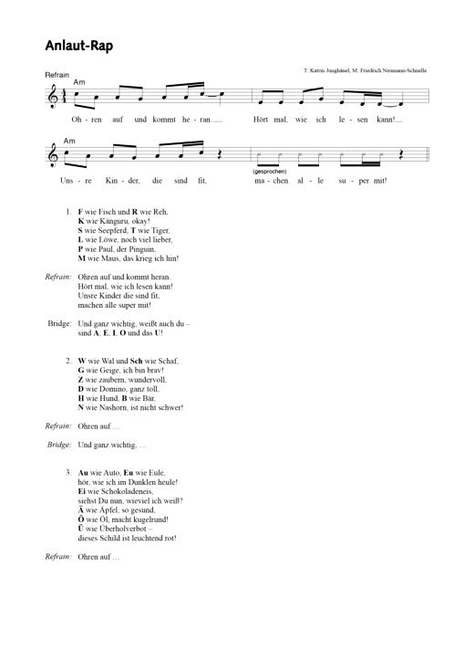Anlaut-Rap Meine Fibel - Arbeitsblatt | Cornelsen