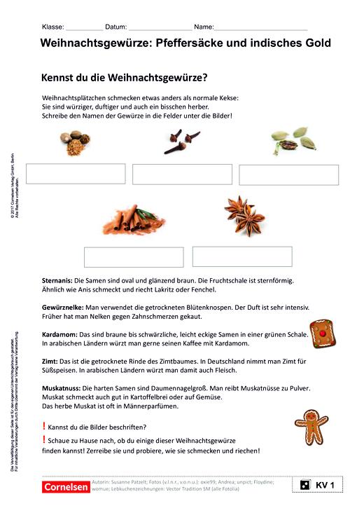 Weihnachtsgewürze: Pfeffersäcke und indisches Gold - Arbeitsblatt ...