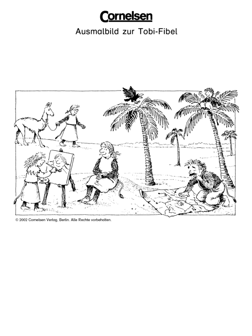 ausmalbild zur tobifibel unter palmen arbeitsblatt