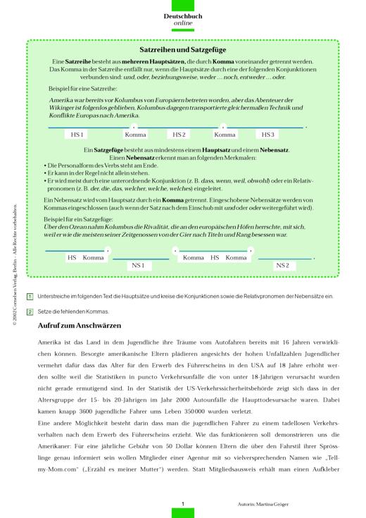 Kommasetzung in Satzreihen und Satzgefügen - Arbeitsblatt | Cornelsen