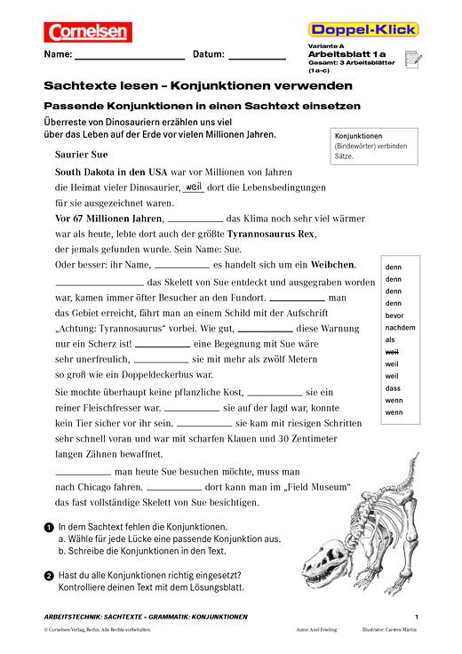 Sachtexte lesen - Konjunktionen verwenden - Arbeitsblatt | Cornelsen