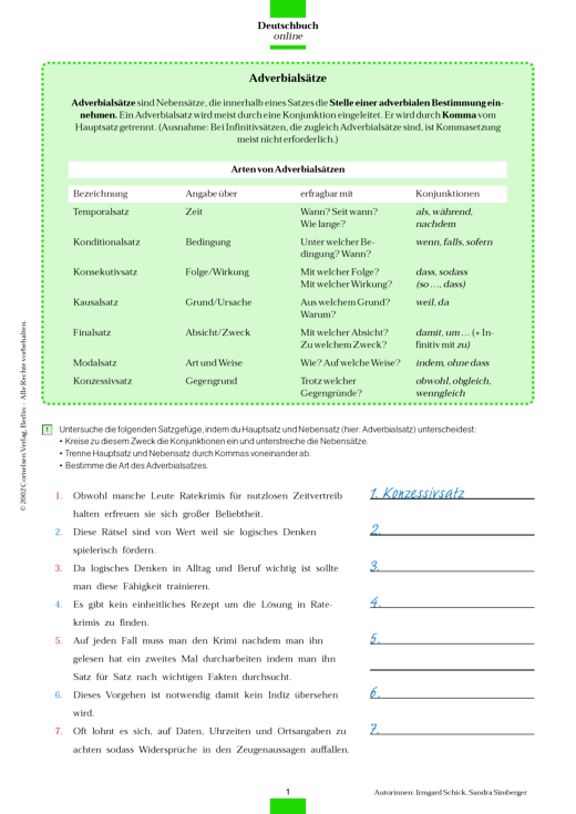 Grammatikübung: Adverbialsätze - Arbeitsblatt | Cornelsen