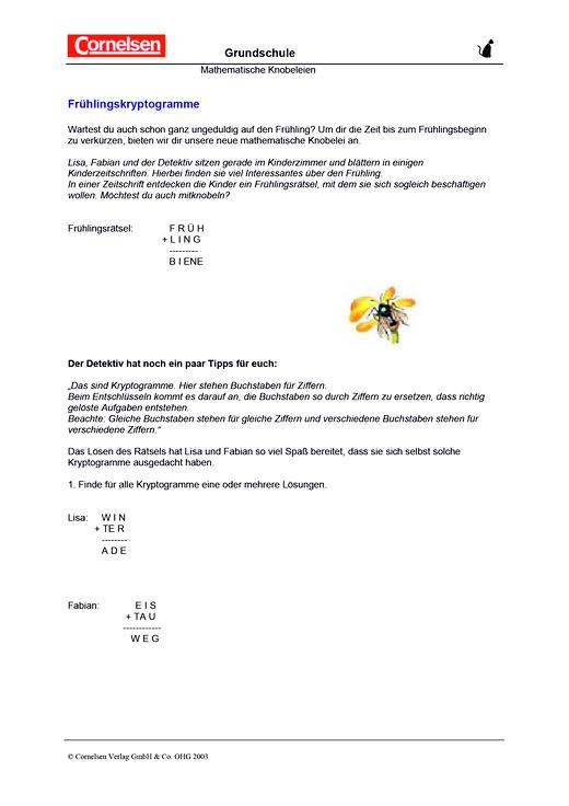 Frühlingskryptogramme - Arbeitsblatt | Cornelsen