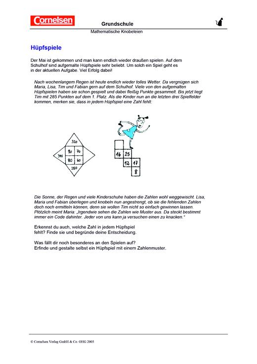 Hüpfspiele - Arbeitsblatt   Cornelsen