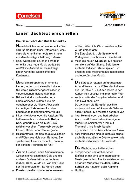 Einen Sachtext erschließen (1) - Arbeitsblatt | Cornelsen