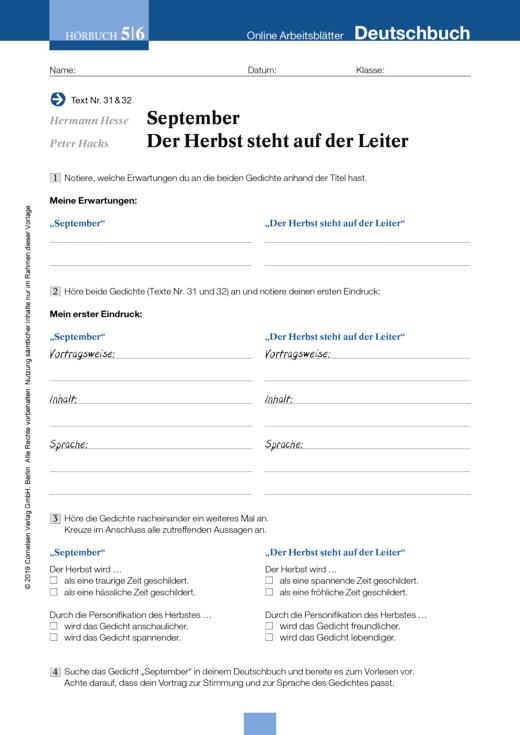 Hermann Hesse: September, Peter Hacks: Der Herbst steht auf der ...
