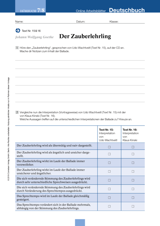 Johann Wolfgang Goethe: Der Zauberlehrling - Arbeitsblatt zum ...