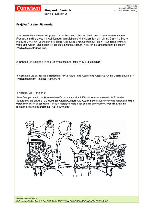 Projekte: Auf dem Flohmarkt / Menschen in unserer Klasse ...