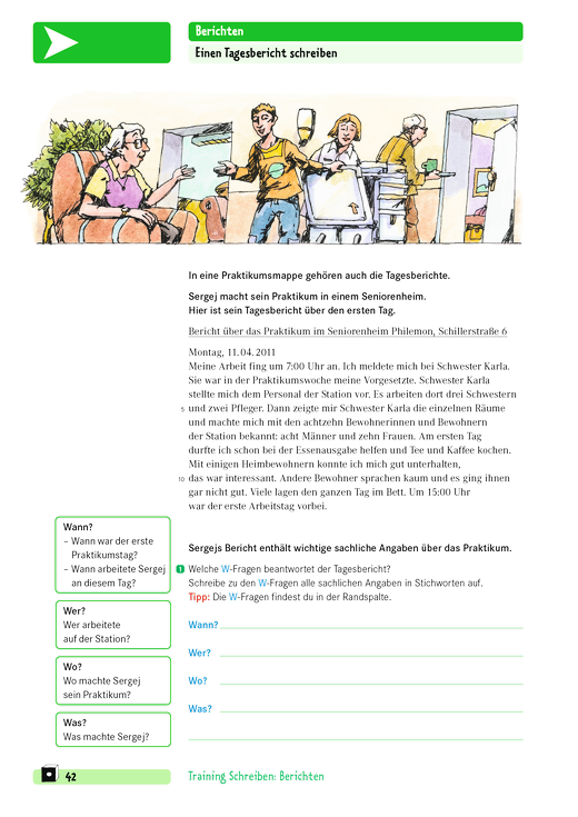 Training Schreiben - Einen Tagesbericht schreiben - Arbeitsblatt ...