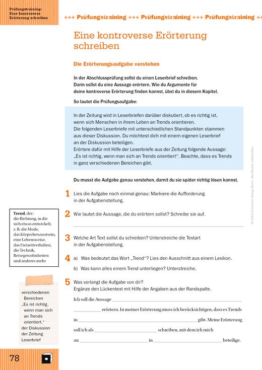Training Schreiben - kontroverse Erörterung - Arbeitsblatt | Cornelsen