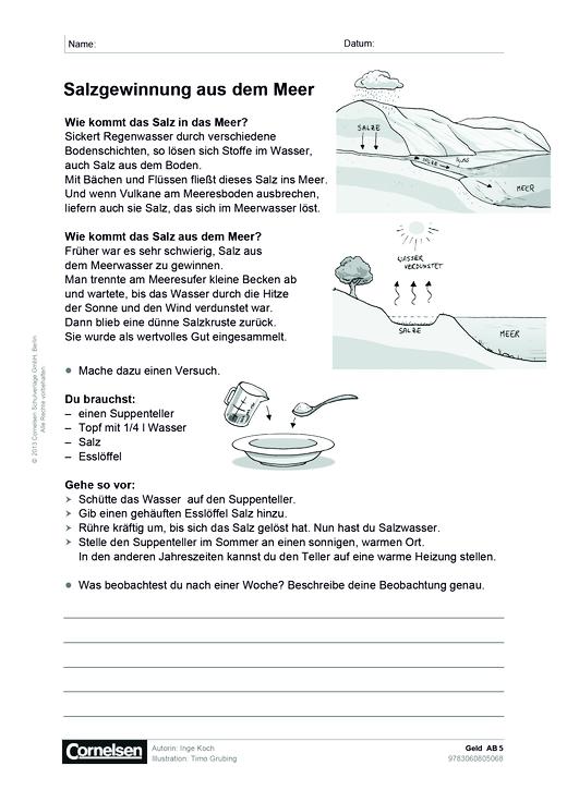 Geld: Salzgewinnung aus dem Meer - Arbeitsblatt | Cornelsen