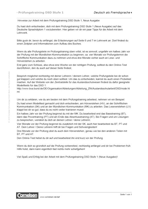 Prüfungstraining DSD-1, Hinweise für Schüler - Arbeitsblatt | Cornelsen