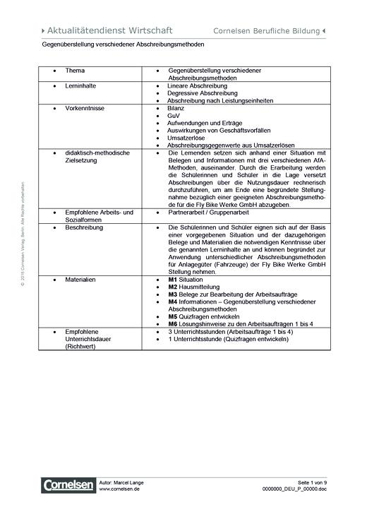 Lernsituation zum Thema Abschreibungsmethoden - Arbeitsblatt | Cornelsen