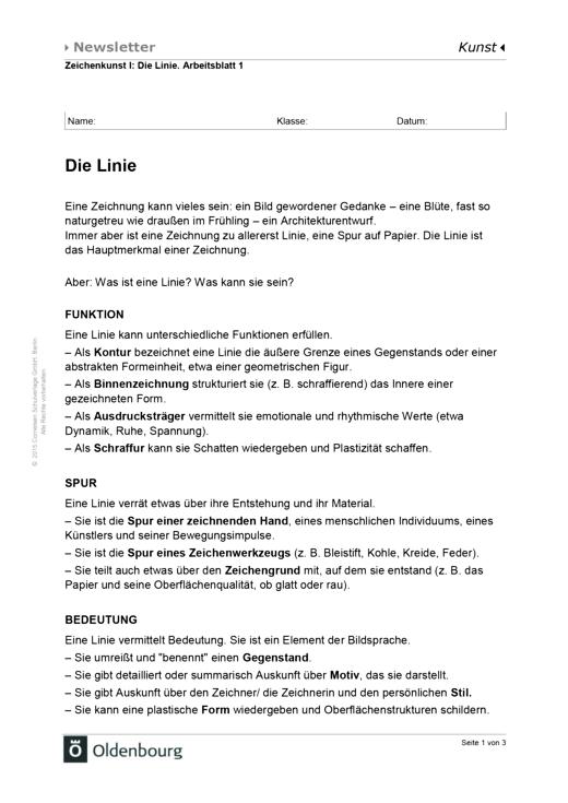 Die Linie - Arbeitsblatt | Cornelsen