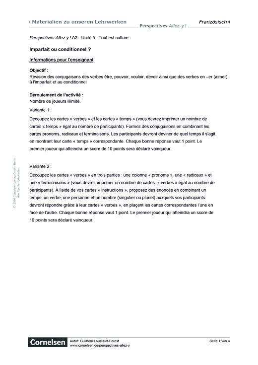 Unité 5: Imparfait ou conditionnel? - Arbeitsblatt | Cornelsen