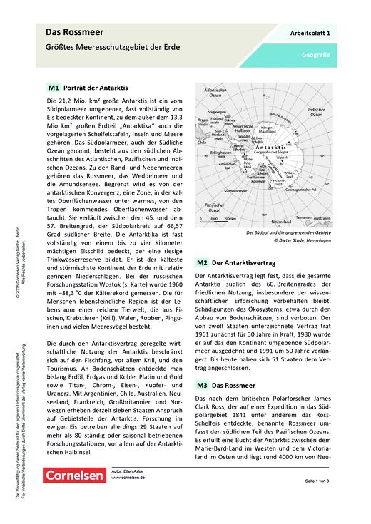 Das Rossmeer – Größtes Meeresschutzgebiet der Erde - Arbeitsblatt ...