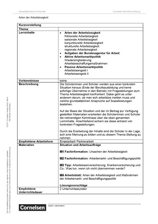 Lernsituation: Arten der Arbeitslosigkeit - Arbeitsblatt | Cornelsen