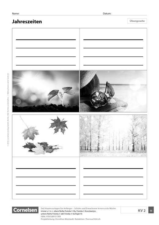 DaZ: Jahreszeiten (Sekundarstufe und Erwachsene) - Arbeitsblatt ...
