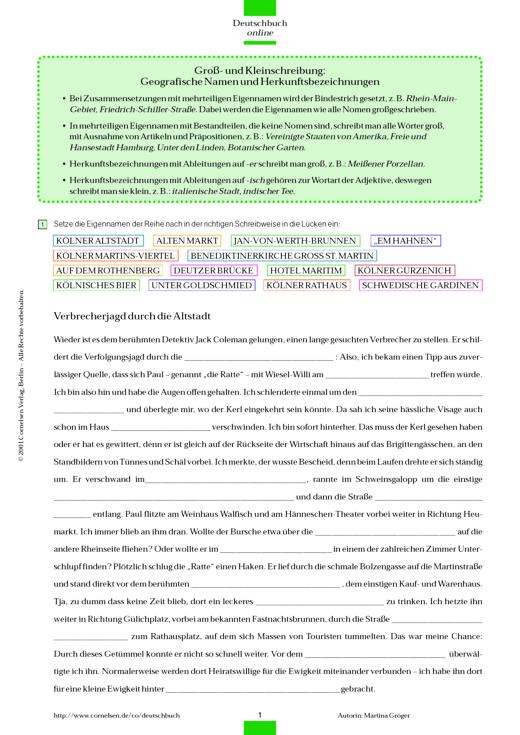 Groß- und Kleinschreibung: Geografische Namen und ...