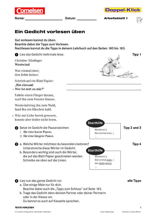 Leseübung: Ein Gedicht vorlesen - Arbeitsblatt | Cornelsen