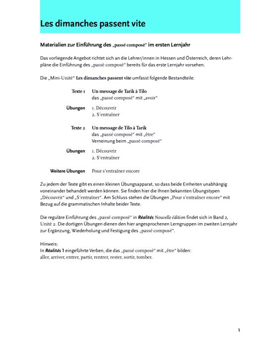 Réalités 2, Unité 2: Materialien zur Einführung des \