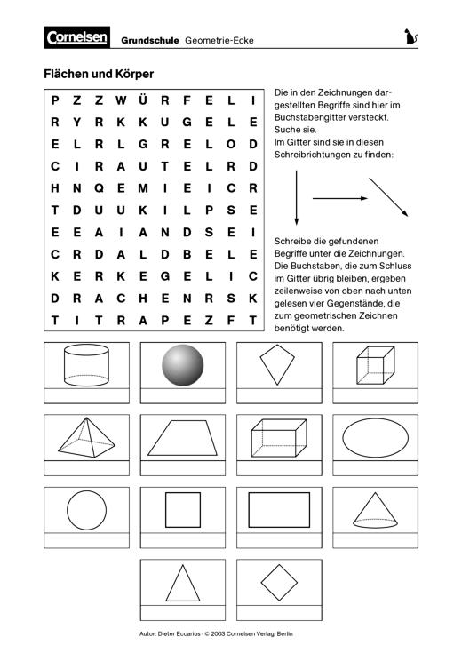 Flächen und Körper - Arbeitsblatt | Cornelsen