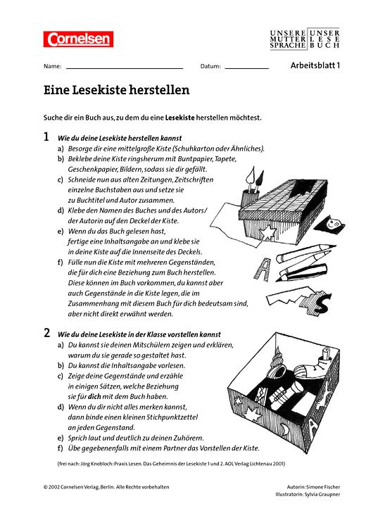 Eine Lesekiste herstellen, Eine Lesekiste herstellen - Arbeitsblatt ...