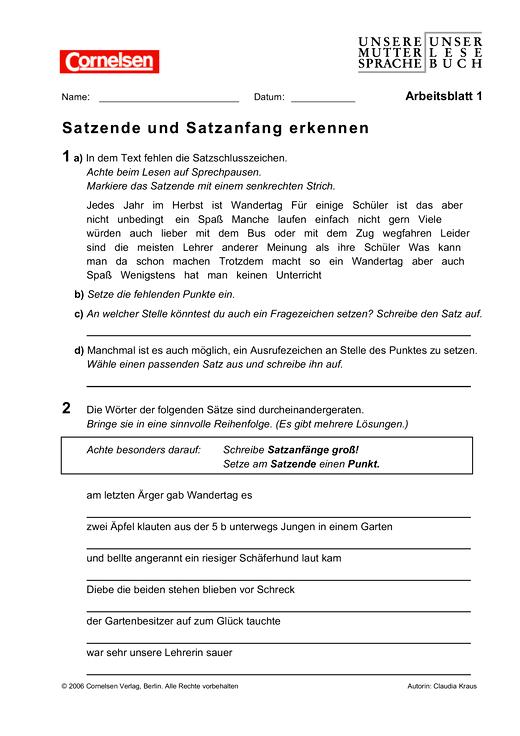 Satzende und Satzanfang erkennen - Arbeitsblatt | Cornelsen