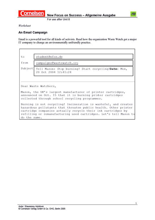 An email campaign - Arbeitsblatt | Cornelsen