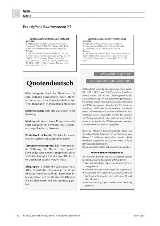Die Quote im Fernsehen (Themenfeld 4 und 5) - Arbeitsblatt | Cornelsen
