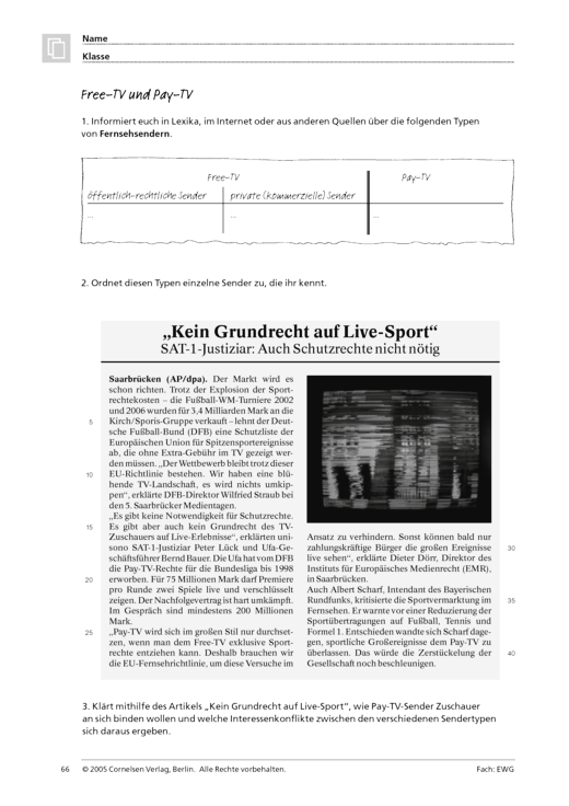 Free-TV und Pay-TV (Themenfeld 4 und 5) - Arbeitsblatt | Cornelsen