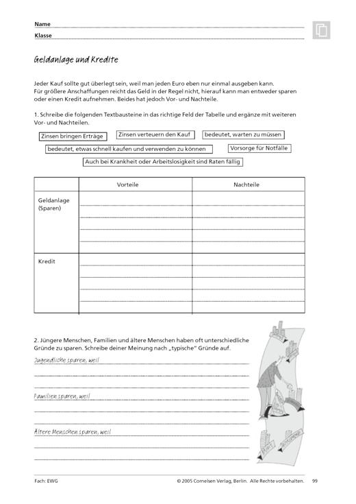 Geldanlage und Kredite - Arbeitsblatt | Cornelsen