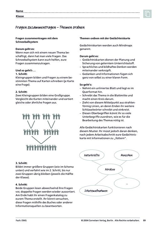 MMR 1, Arbeitstechniken: Fragen zusammentragen – Themen ordnen ...
