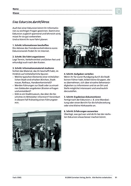 MMR 1, Arbeitstechniken: Eine Exkursion durchführen - Arbeitsblatt ...