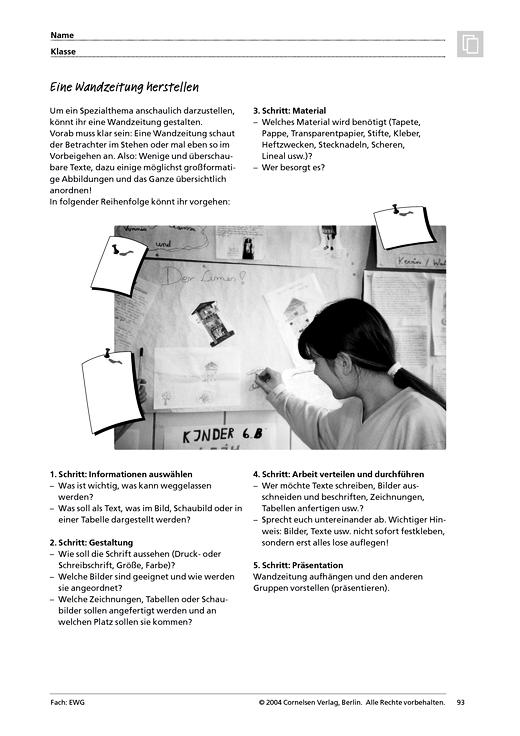MMR 1, Arbeitstechniken: Eine Wandzeitung herstellen - Arbeitsblatt ...