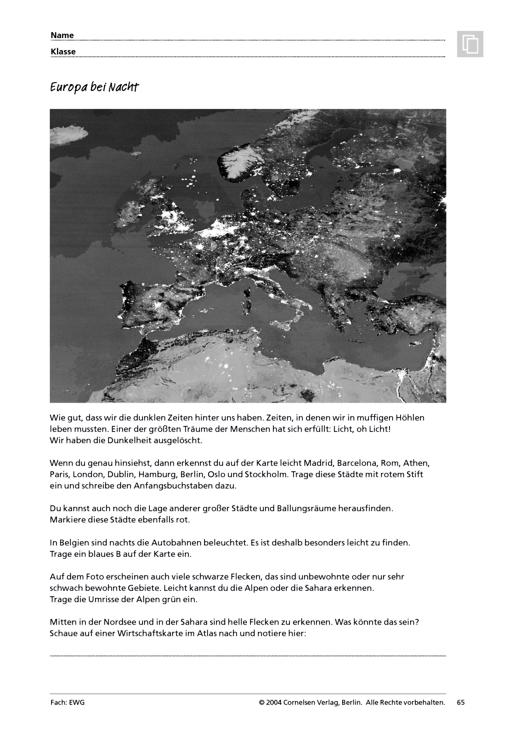 MMR 1, Themenfeld 3: Europa bei Nacht - Arbeitsblatt | Cornelsen